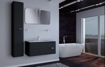 Тумбы в черном цвете для стильной ванной комнаты