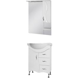 Комплект BRIZ тумба Б2-65 белая + зеркало БШНЗ2-65 (правое) белое