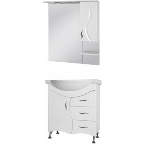 Комплект BRIZ тумба Б2-75 белая + зеркало БШНЗ2-75 (правое) белое